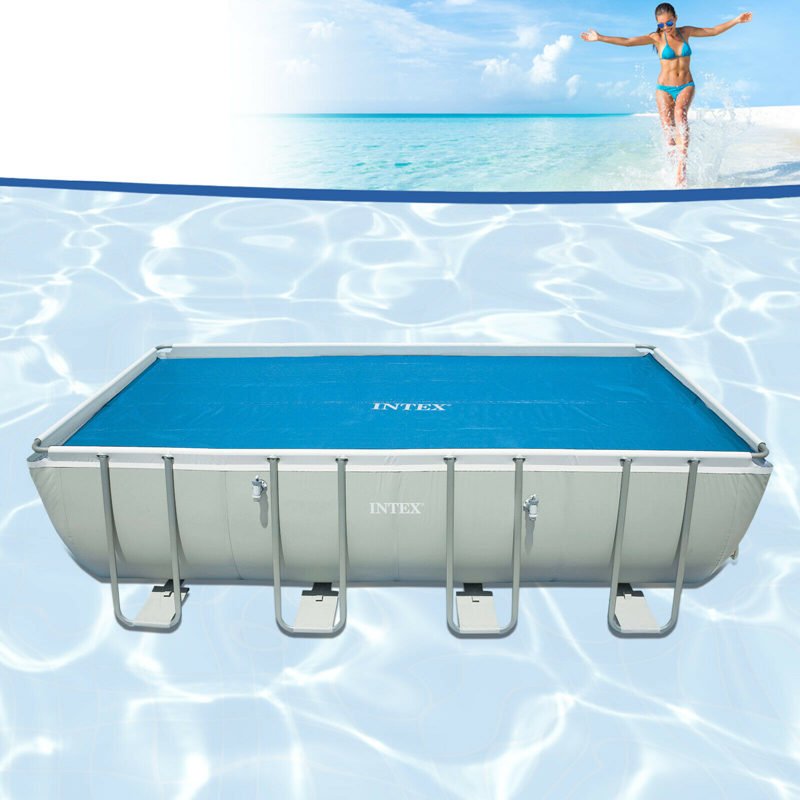 Jilong Poolheizung Intex 29028 Thermische Solarabdeckplane Pool 378x186cm