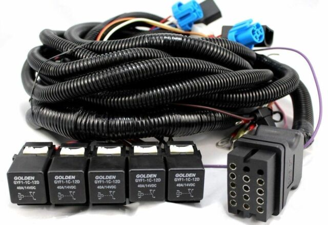 Boss MSC08001 Truck Side Snow Plow 13 Pin 5 Relay Wiring Harness for