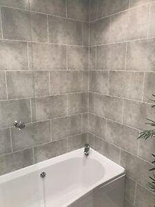 Pe Foam 3d Wallpaper Cutline Grey Tile Effect Bathroom Wall Panels Pvc Shower