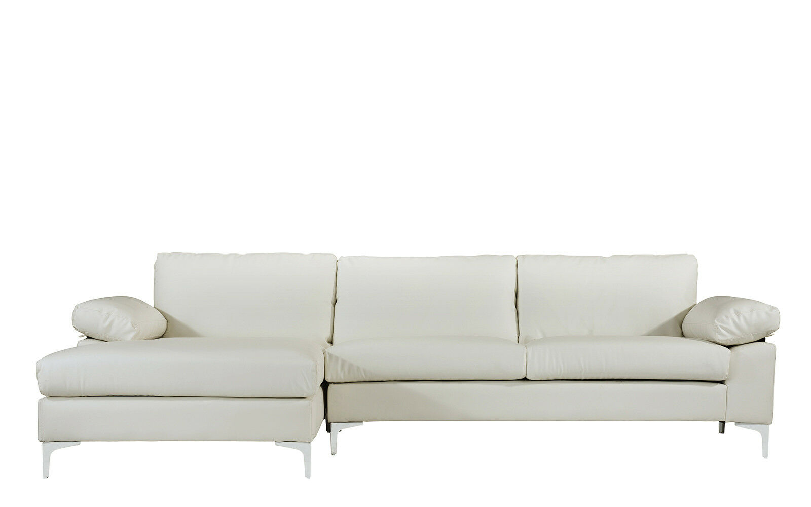 Microfiber Sectional Sofa Modern Large Faux Leather Sectional Sofa L Shape Couch Chaise Lounge White