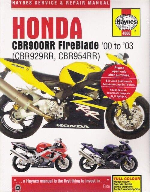 Honda Fireblade Haynes Manual CBR Cbr900rr 2000-2003 Service Repair