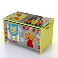 LARGE KIDS CHILDREN WOODEN STORAGE TOY BOX CHEST LID ...