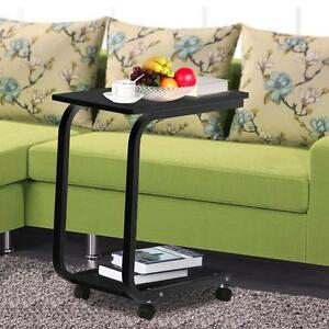 Rolling Laptop Table Multi Uses Moving Desk Bedside Table