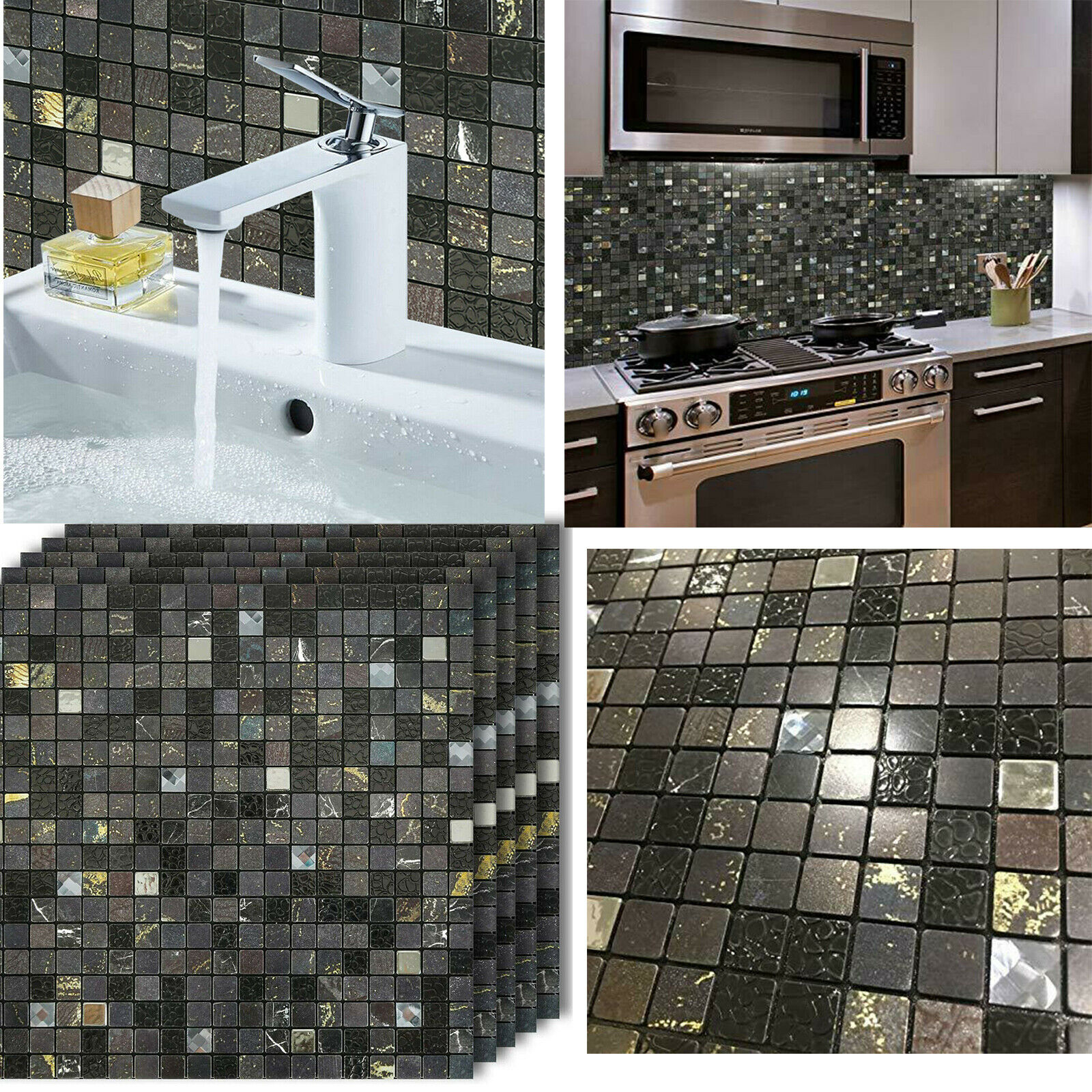 6 Pack 12x12 Self Adhesive Wall Tile Peel Stick Backsplash For Kitchen Marble For Sale Online Ebay
