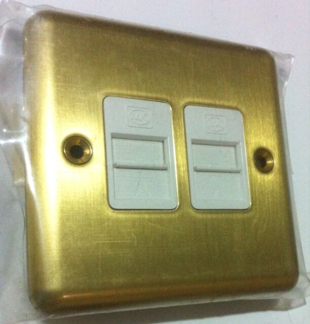 MK Telephone Socket Outlet Twin Secondary BT Approved 434sab Satin