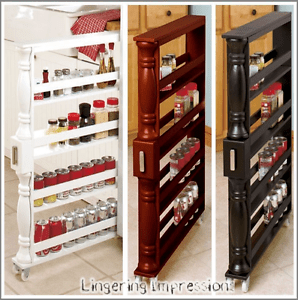 Narrow Slim Can Spice Rack Shelf Wooden Storage Organize