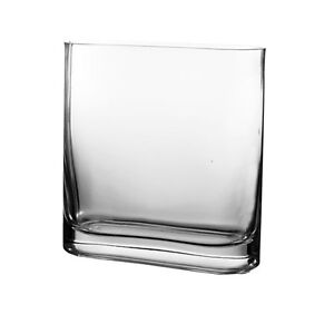 Clear Glass Rounded Rectangle Squarish Vase H 7 5 Home - Vase Glas Rund