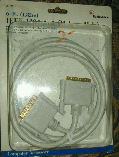 RadioShack 26-233 6\u0027 IEEE 1284 A-a (male to Male) Cable 25 Pin D Sub