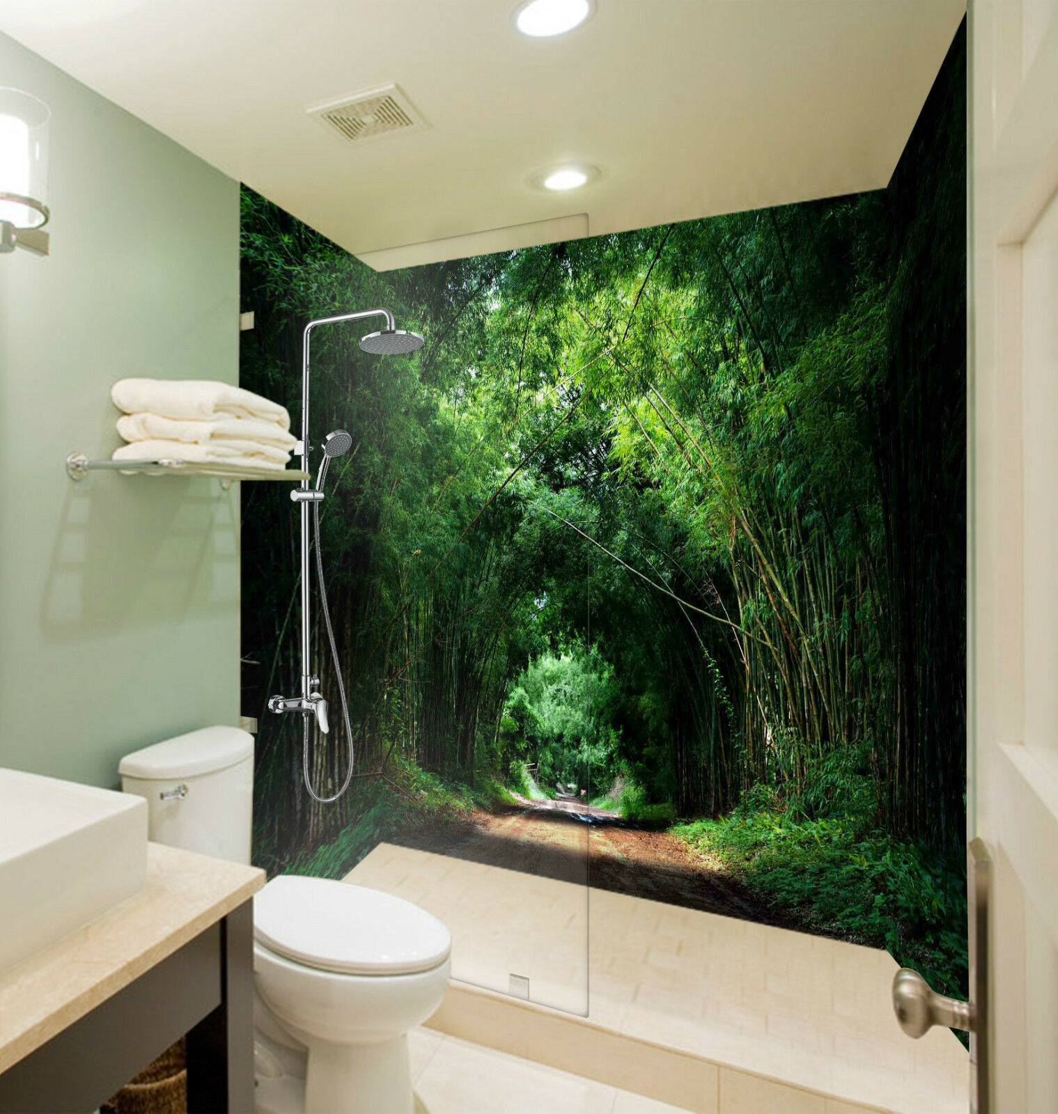 Wallpaper Murals For Bathrooms 3d Bamboos Road 153 Wallpaper Bathroom Print Decal Wall Deco Deco