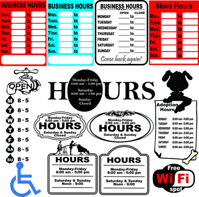 52 Business Hours Sign Templates Vector Clipart for Vinyl Cutter eBay