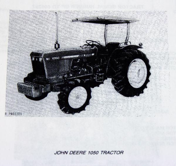 John Deere 1050 Tractor Service Repair Manual Parts Catalog