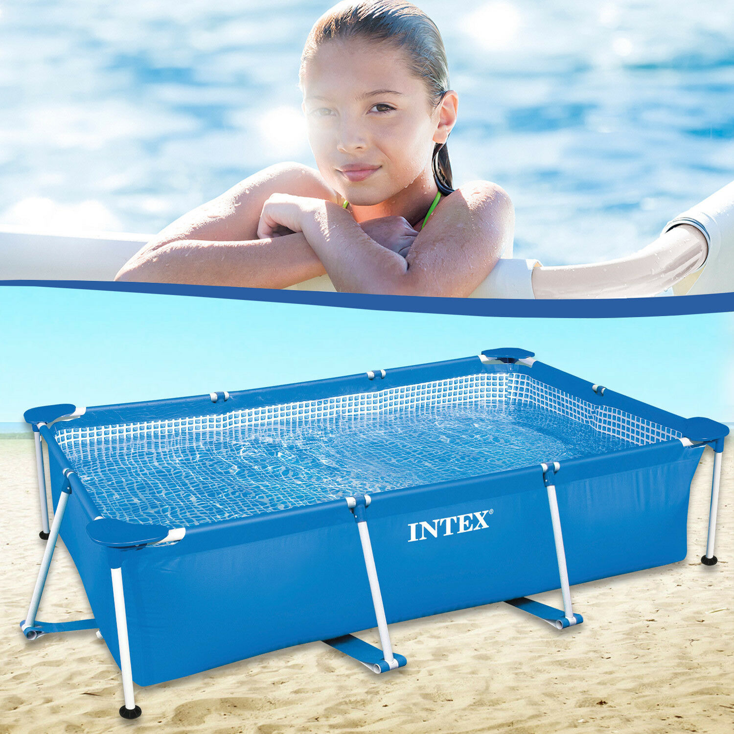 Abdeckplane Pool 220 X 150 Intex Metal Frame Pool 220 X 150 Cm