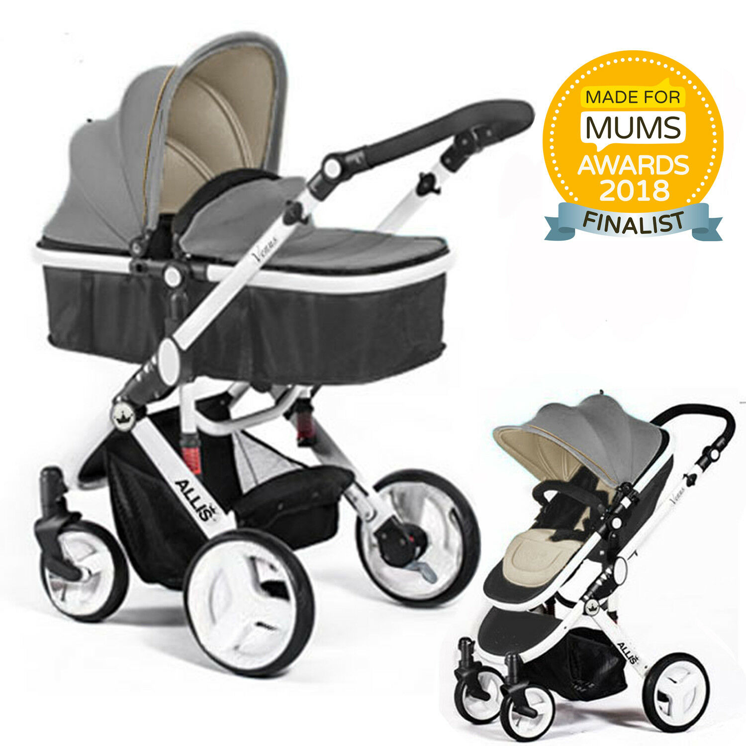 Toy Buggy With Car Seat Allis 2in1 Baby Pram Pushchair Stroller Buggy Carry Cot Free Car Seat Adaptor