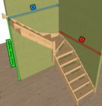 Pine open Staircase > 3 kite Winder Stair | eBay