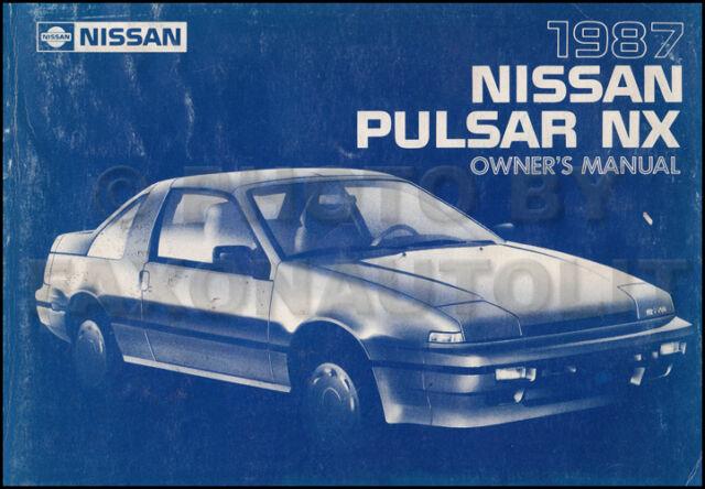 1987 Nissan Pulsar NX Owners Manual Original OEM Owner User Guide