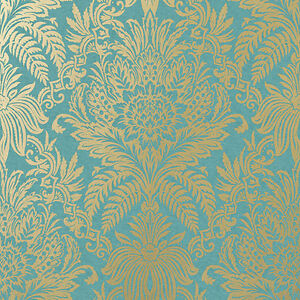 Crown Signature Rich Teal Gold Wallpaper (M1064) | eBay