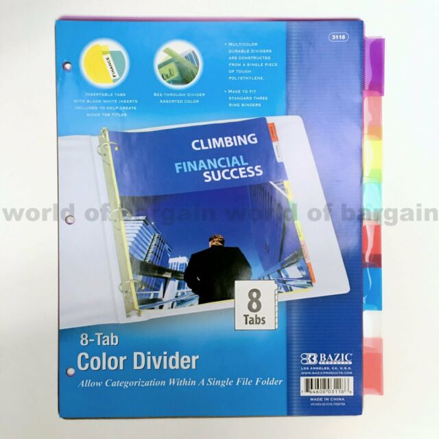 8 Tab Colored Dividers 3 Ring Binder See Thru Plastic Film File