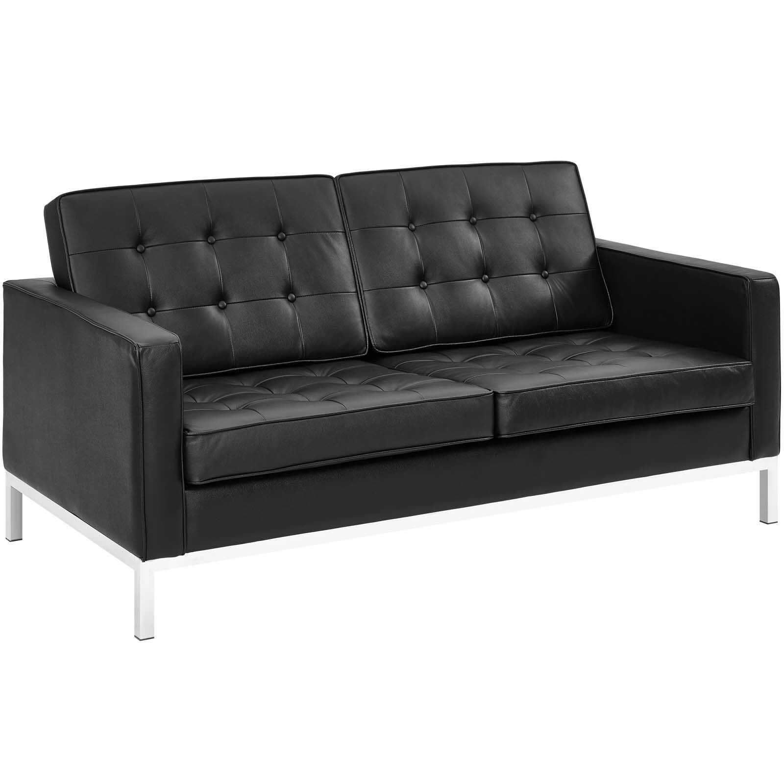 Leather Upholstered Lounge Mid Century Modern Tufted Leather Upholstered Lounge