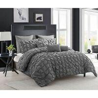 6-Piece Charcoal Gray Comforter Set Twin XL Pintuck Modern ...