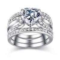 3 Piece Stainless Steel Heart Shape CZ Wedding Engagement ...