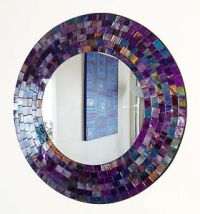 Round purple pink mosaic wall mirror 40cm-hand made in ...