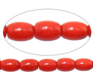 Nat252;rliche Rote Koralle Natur Edelstein Perlen Oval 6mm