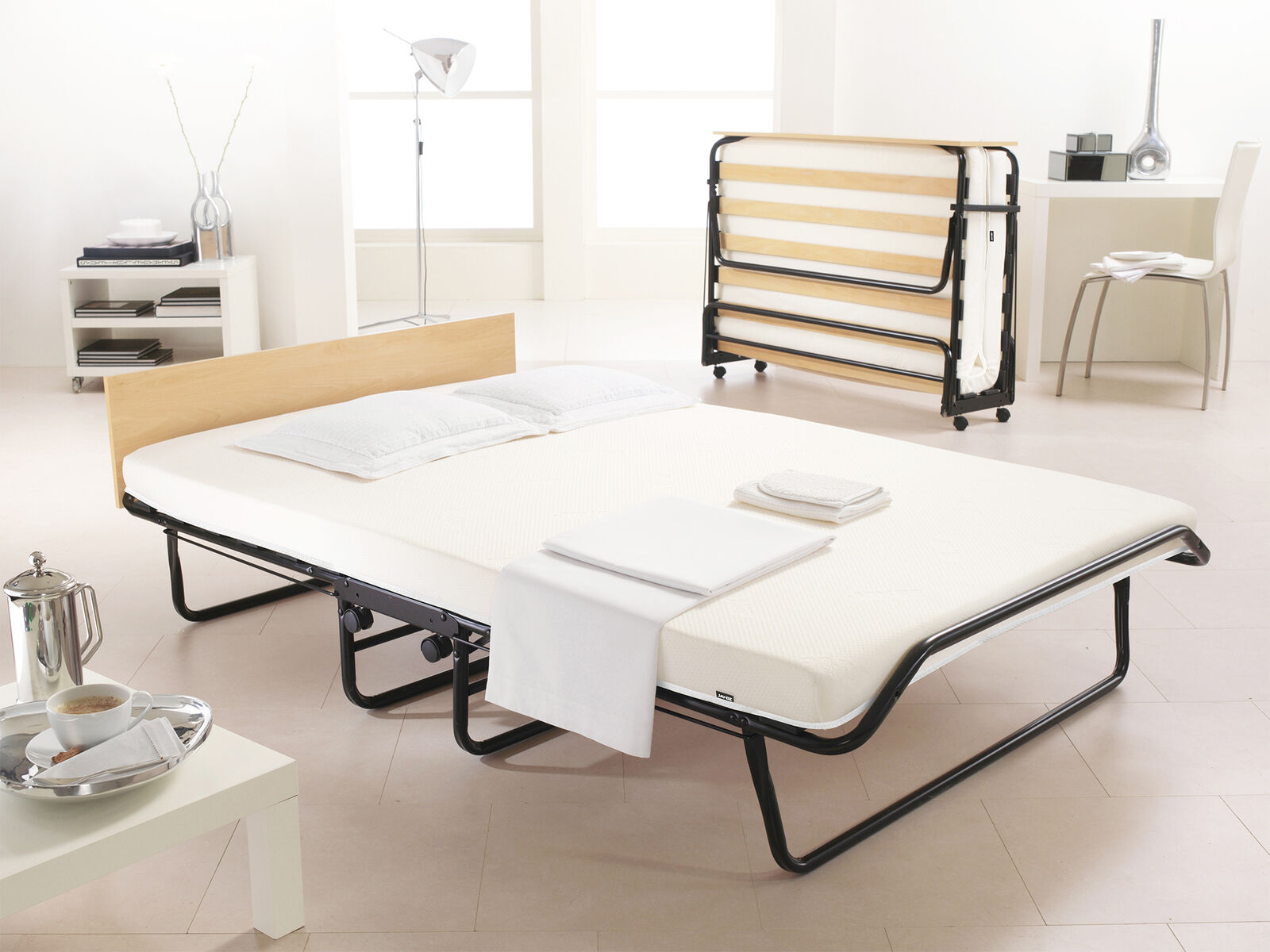 Folding Double Guest Bed With Mattress Jay Be Impression Small Double Folding Guest Bed With Memory Foam Mattress