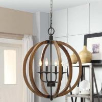 Wooden Orb 4 Light Chandelier Rustic Sphere Globe Kitchen ...