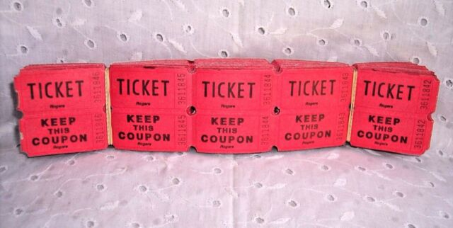 200 DOUBLE STUB RAFFLE TICKETS NUMBERED- RED - CHURCH-SCHOOL