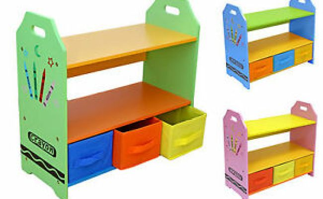 Kiddi Style Childrens Crayon Wooden Shelves Storage Unit