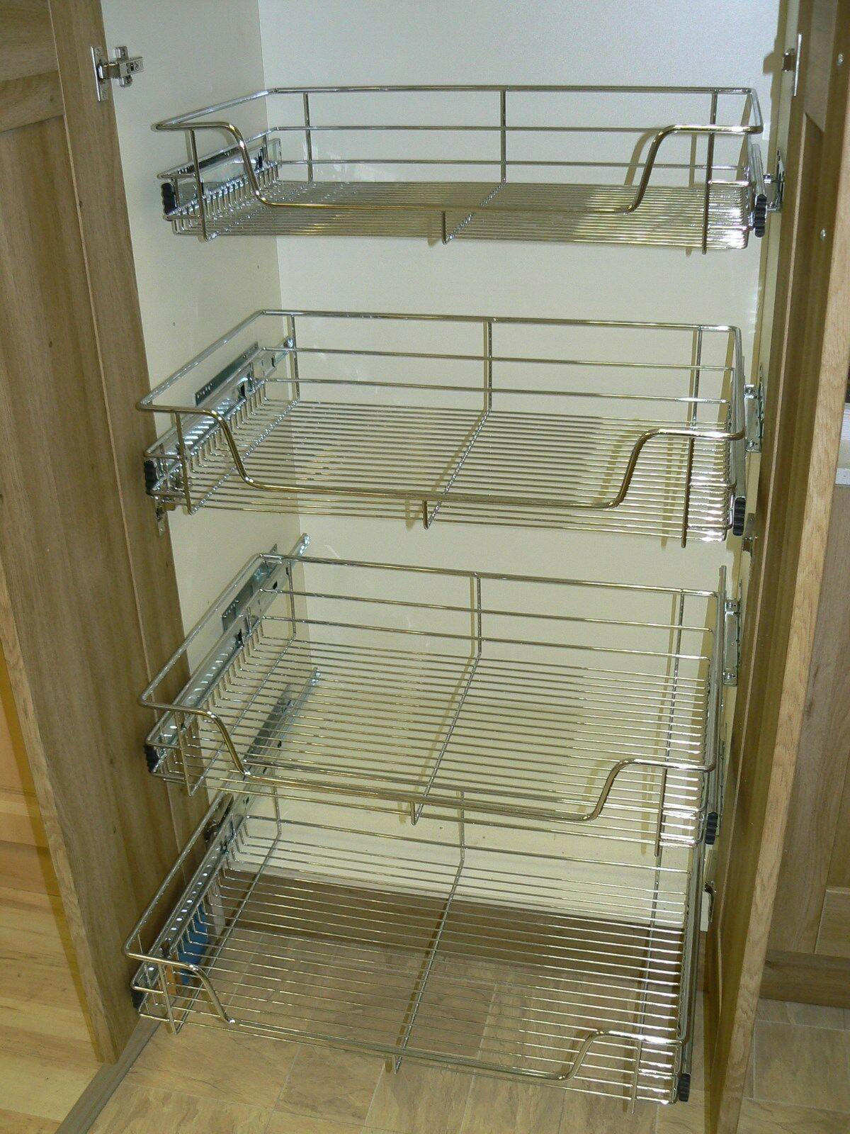 Pull Out Basket 4 X Pull Out Wire Basket Chrome Kitchen Bedroom Drawer