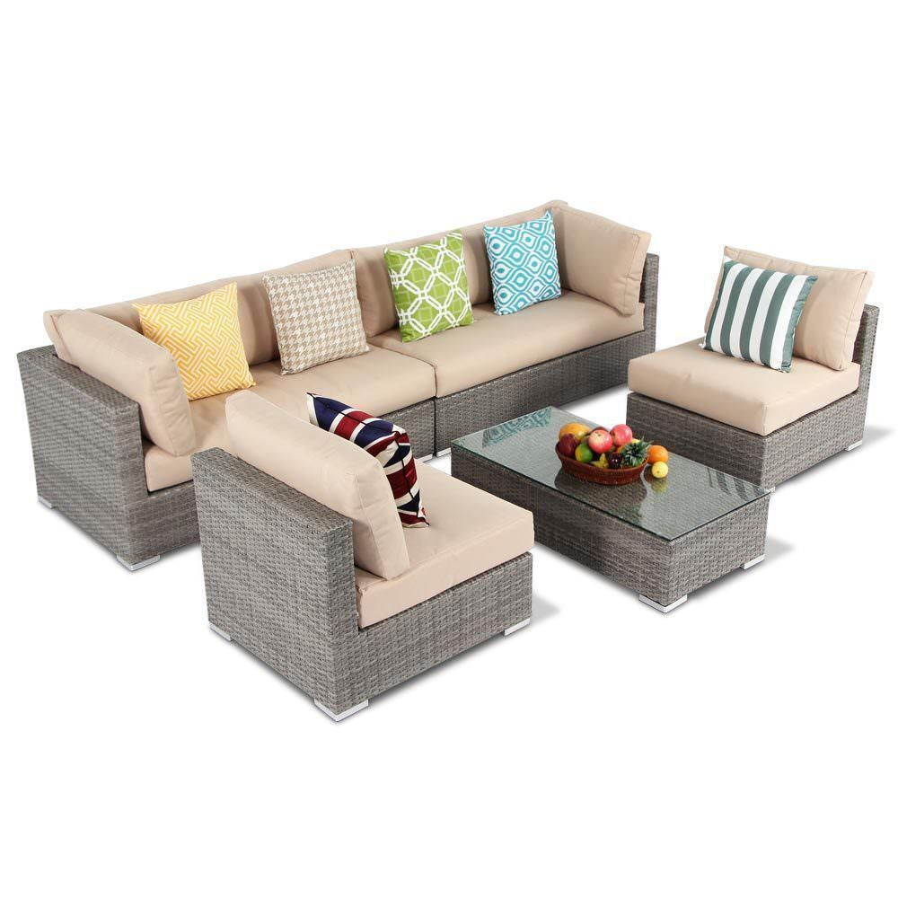 Sectional Corner Couch 5pcs Outdoor Patio Wicker Rattan Sectional Corner Sofa Chair Couch Table Set