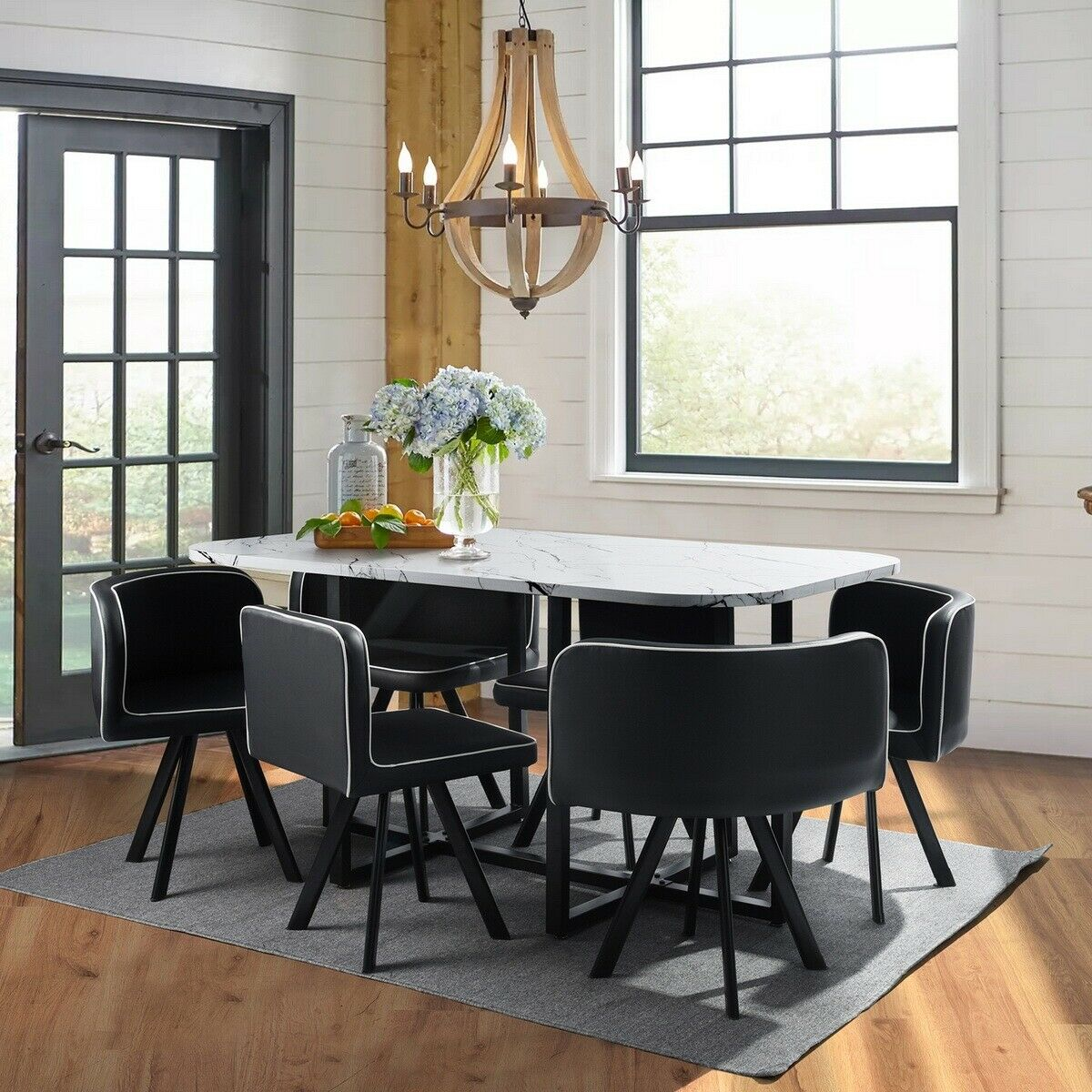 Dining Room Table Set For 6 Farmhouse Wooden Kitchen Tables And Chairs 7 Piece For Sale Online Ebay