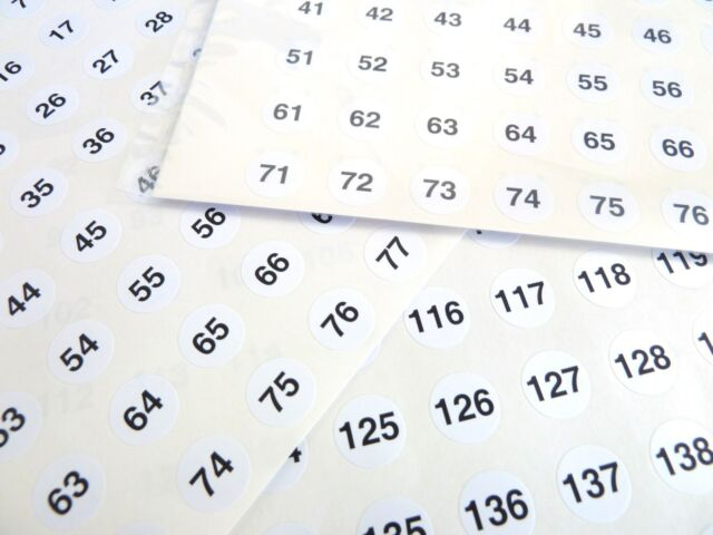 Small White 13mm Round Consecutive Sequential Number Labels