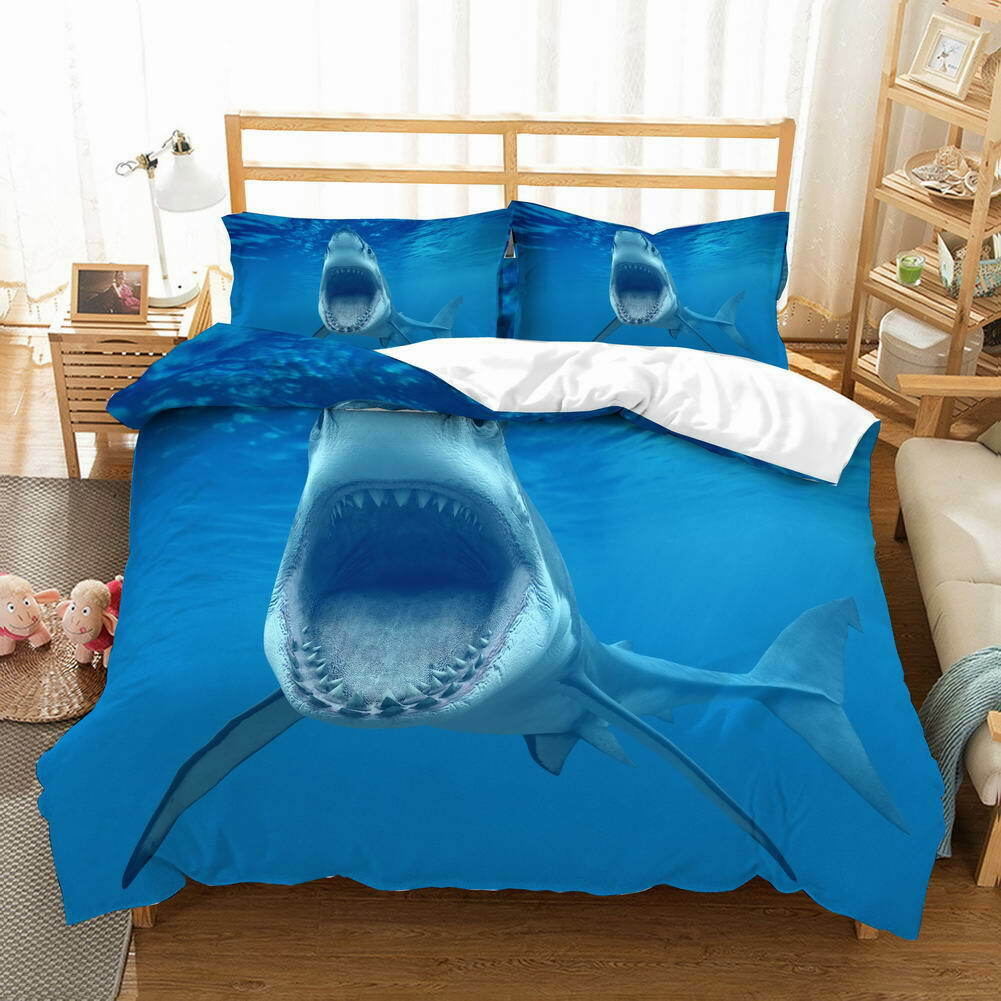 Bettwäsche 155x220 Hammer Sharks Sea Deep 3d Queen Print King Double Single Set Cover