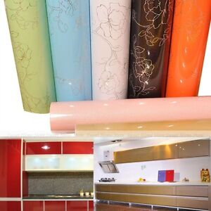 Gloss PVC Contact Paper Self Adhesive Wallpaper Kitchen Units Shelf Liner Cover | eBay