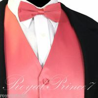Coral Solid New Men Tuxedo Suit Vest Waistcoat and Bow tie ...