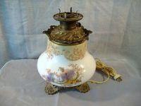 Antique Milk Glass Floral Oil Kerosene Lamp Base Hand ...