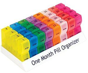 One Month Pill Organiser 32 Days Am Pm Lids Medicine