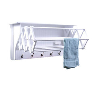 White Wall Mount Folding Accordion Clothes Dryer Rack With