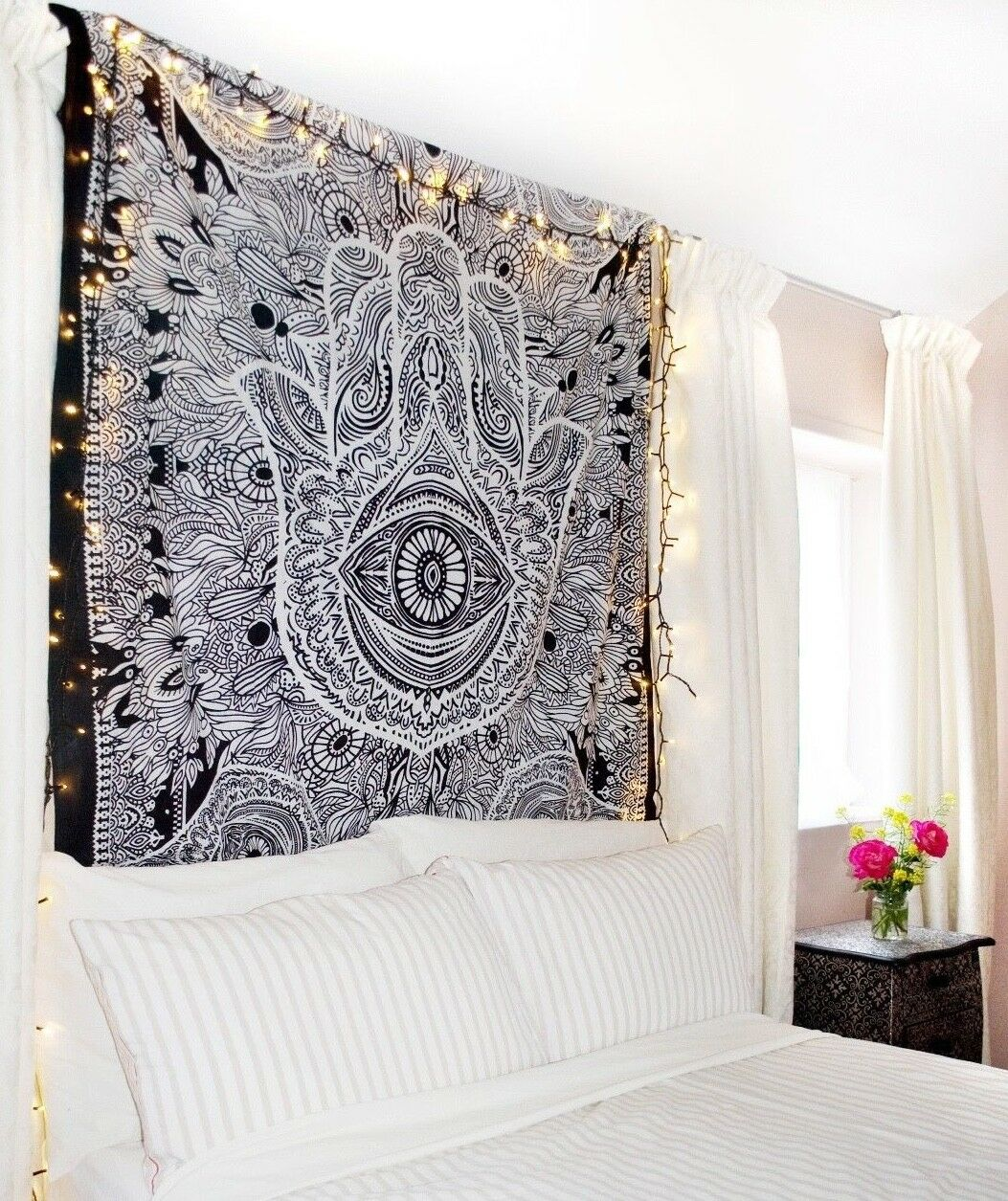 Main De Fatma Decoration Murale Details About Fatima Hand Hamsa Tapestry Indian Mandala Wall Hanging Throw Bedspread Decor Art