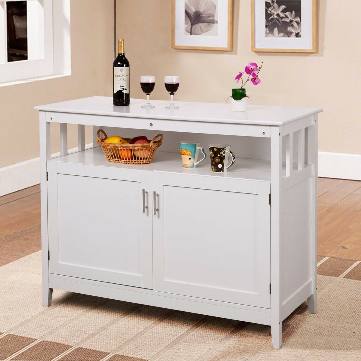 Buffet Kitchen Cabinet Wood Console Storage Cabinet Sideboard Buffet Kitchen Cupboard Counter Island