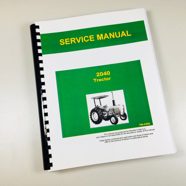 JD John Deere 2040 Tractor Service Repair Manual Technical Shop Book