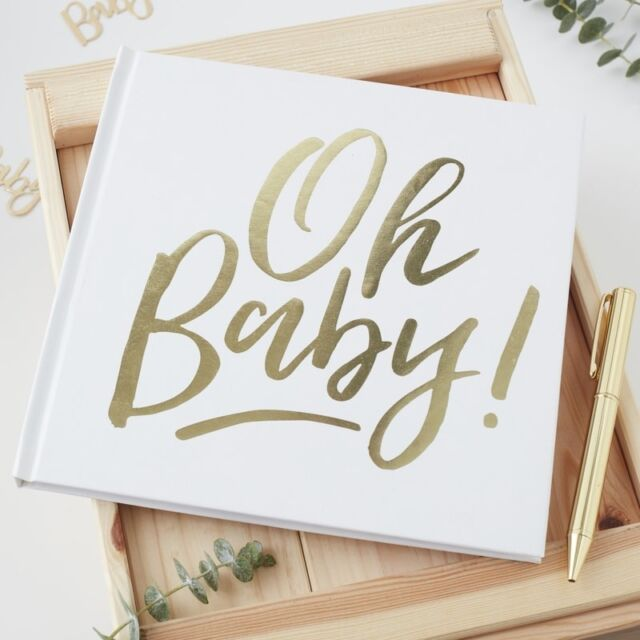 Buy Ginger Ray White Gold Foiled Christening Naming Guest Book Baby