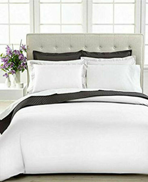 Charter Club Damask Solid 500 Queen Duvet Cover White For