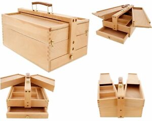 Large Wooden Tool Box Chest Slide Drawer Storage Drow