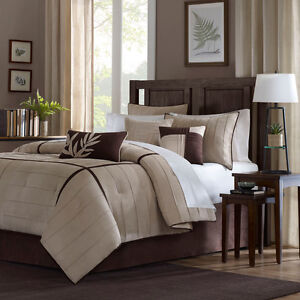 BEAUTIFUL 7 PC MODERN LUXURY ELEGANT BEIGE BROWN PLUSH TAN SOFT COMFORTER SET