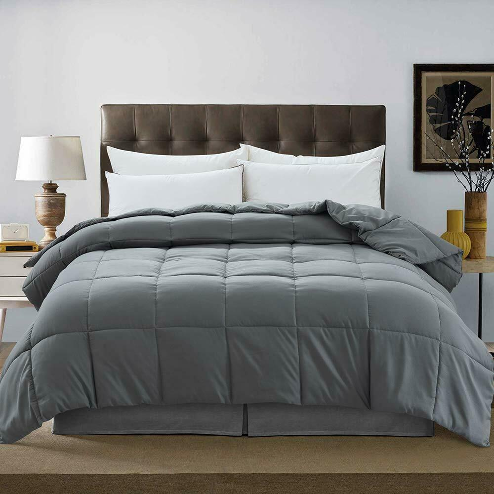Downcool Down Alternative Quilted Comforter Dark Grey Lightweight Duvet Insert For Sale Online