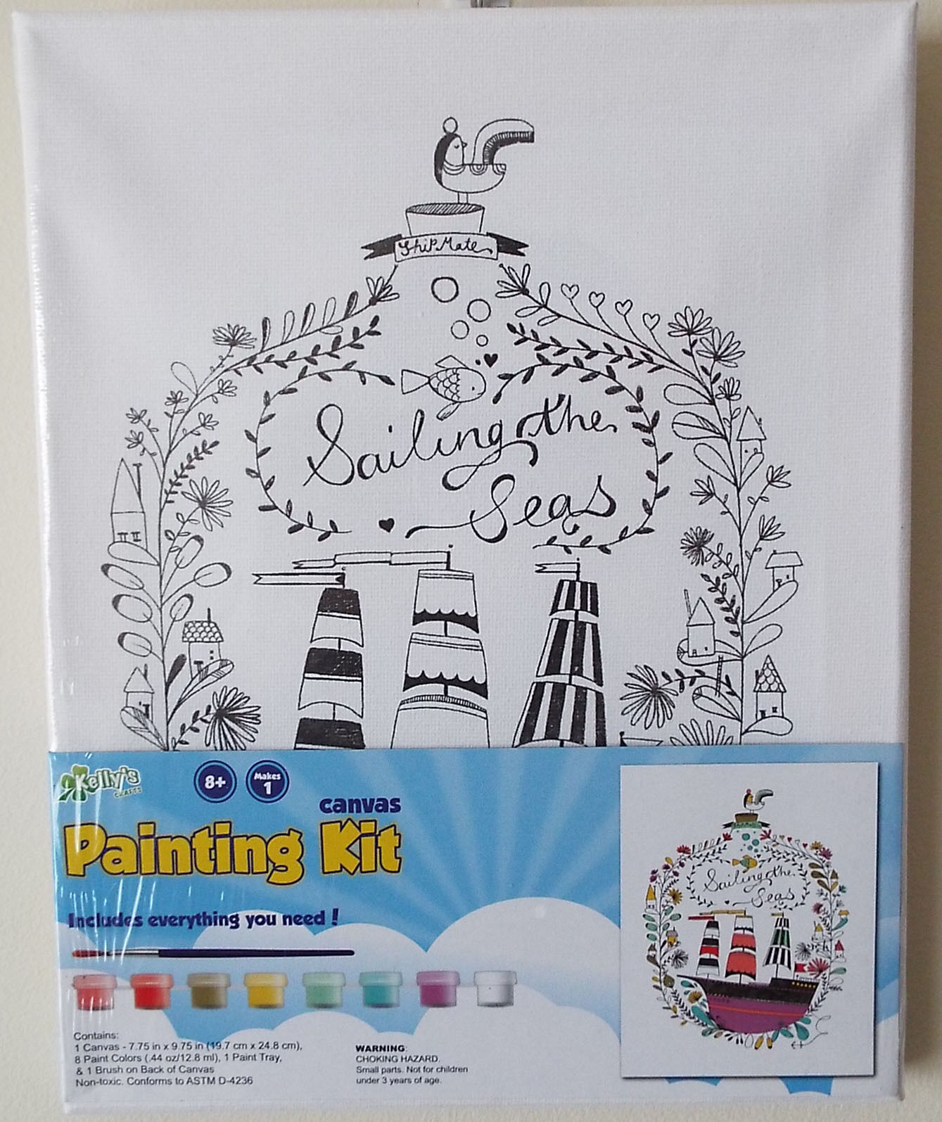 Nautical Paint Colors Kids Canvas Painting Kit Sailing The Seas Nautical Artist Gift Ideas Crafts