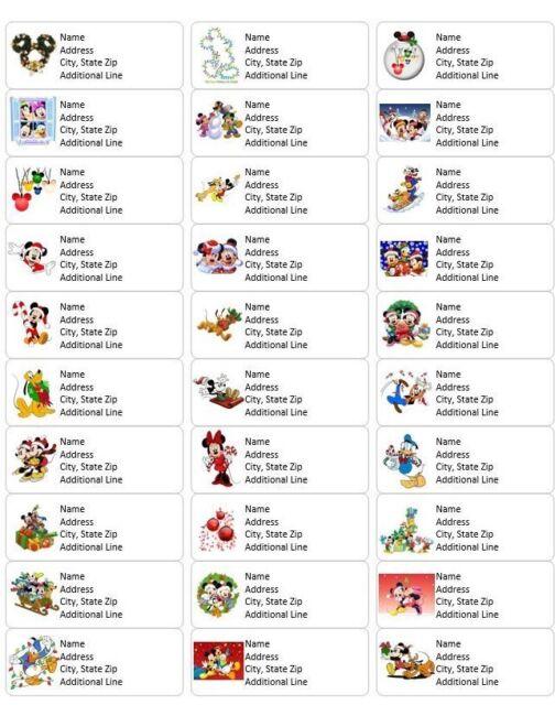 Disney Mickey Minnie Return Address Labels Christmas Xmas Holiday